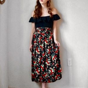 Vintage Long Floral Pleated Skirt W25